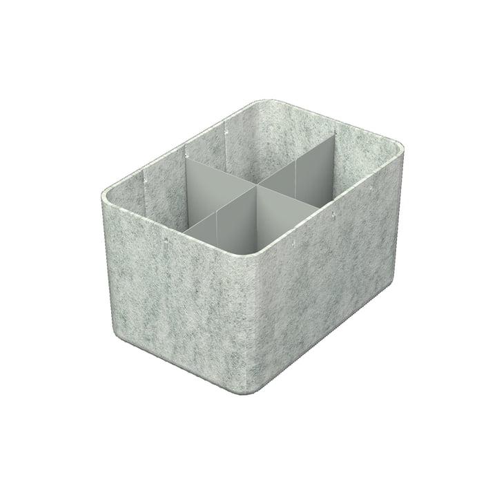 USM Haller - Inos Box mit Unterteilung längs und quer, 22,3 x 32,2 cm, H 19 cm / hellgrau