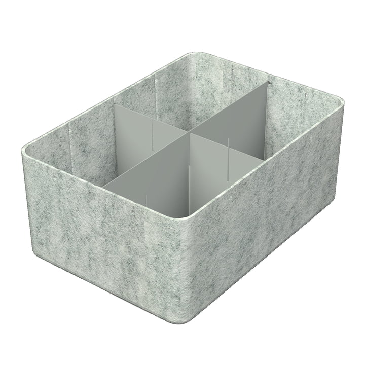 USM Haller - Inos Box mit Unterteilung längs und quer, 45,3 x 32,2 cm, H 19 cm / hellgrau