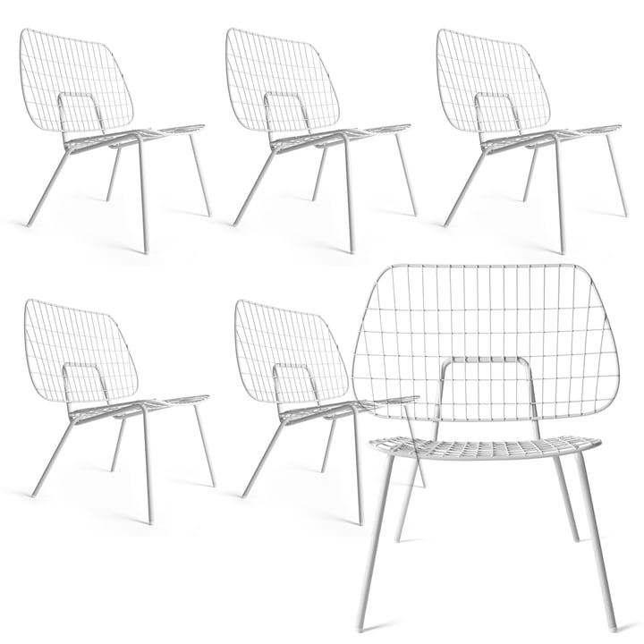 5+1 Angebots-Set: Menu - WM String Lounge Chair, weiß