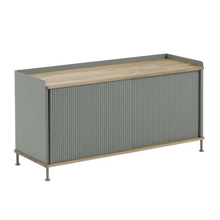 Enfold Sideboard niedrig von Muuto in Eiche / Dusty Grün