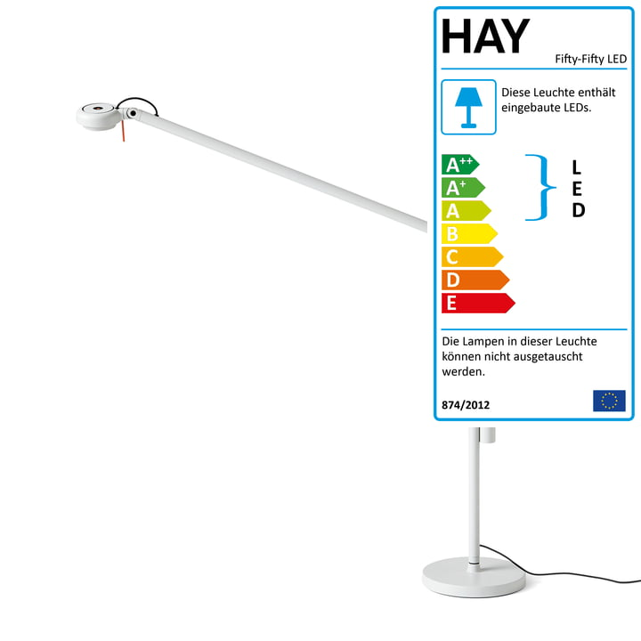 Fifty-Fifty LED Tischleuchte mit Fuß von Hay in Lichtgrau (RAL 7035)