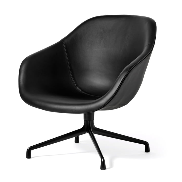 About A Lounge Chair Low / AAL 81 von Hay in Aluminium schwarz / Sierra Leder schwarz (SI1001)