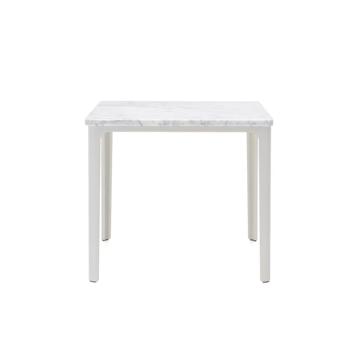 Der Vitra - Plate Table, 41 x 41 cm in weiß pulverbeschichtet / Carrara Marmor