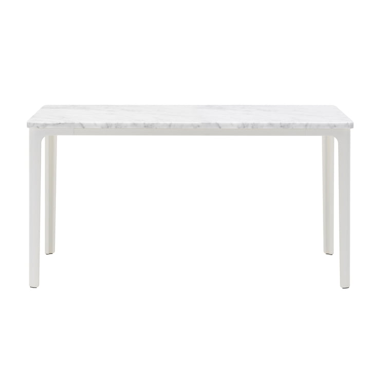 Der Vitra - Plate Table, 71 x 71 cm in weiß pulverbeschichtet / Carrara Marmor