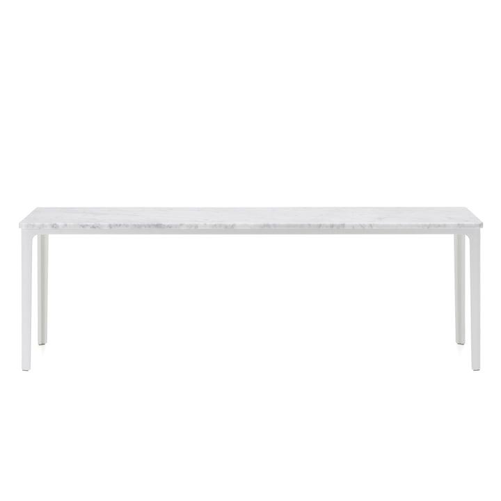 Der Vitra - Plate Table, 113 x 41 cm in weiß pulverbeschichtet / Carrara Marmor