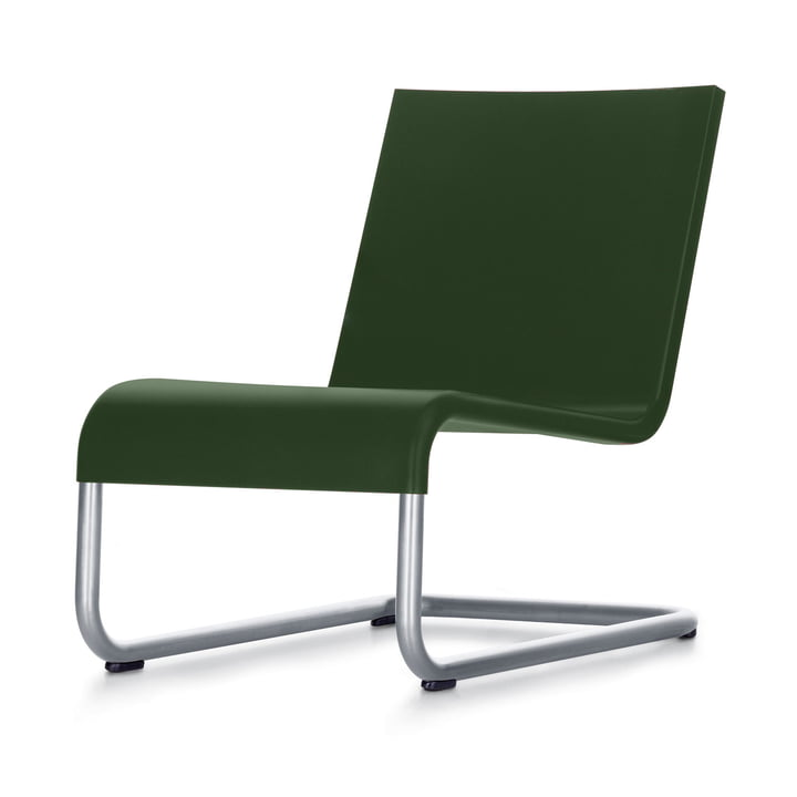 Der Vitra - .06 Sessel in Edelstahl / dunkelgrün
