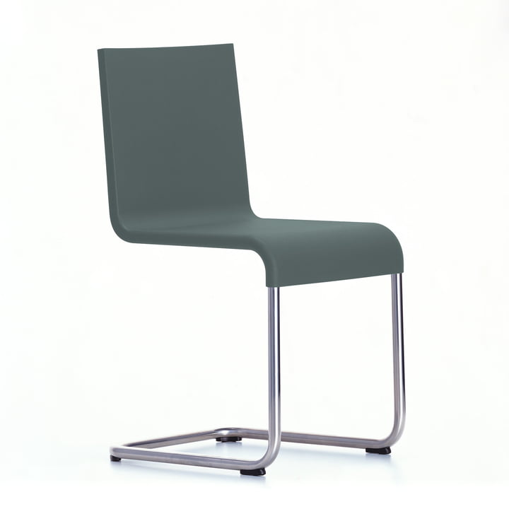 Der Vitra - .05 Stuhl nicht stapelbar in Edelstahl / dunkelgrau