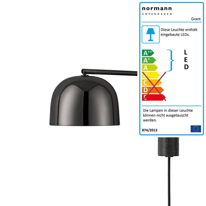 Normann Copenhagen - Grant LED-Wandleuchte, 43 cm / schwarz