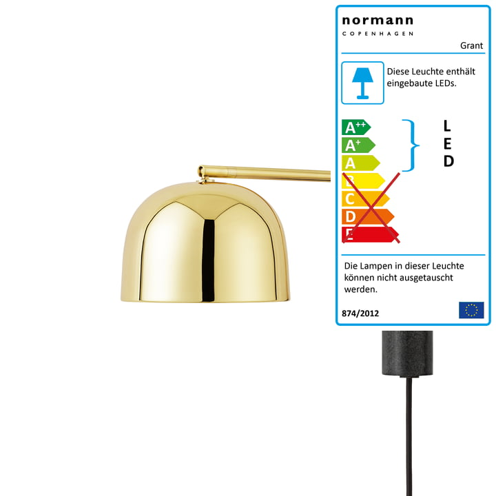 Normann Copenhagen - Grant LED-Wandleuchte, 43 cm / Messing