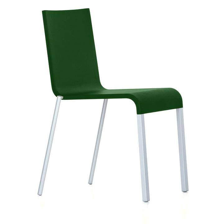 Vitra - .03 Stuhl stapelbar, silber (RAL 9006) / dunkelgrün