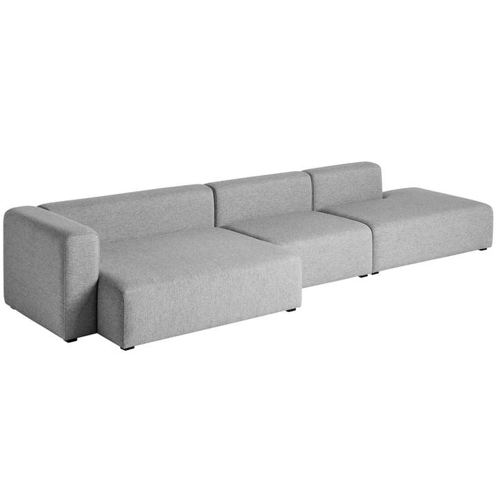Hay - Mags Sofa 3-Sitzer, Kombination 2, Armlehne links / grau (Hallingdal 116)