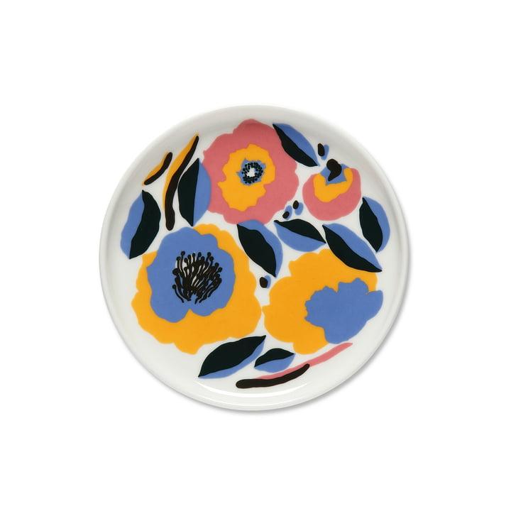 Der Marimekko - Oiva Rosarium Teller, Ø 13.5 cm in weiß / rot / gelb / blau