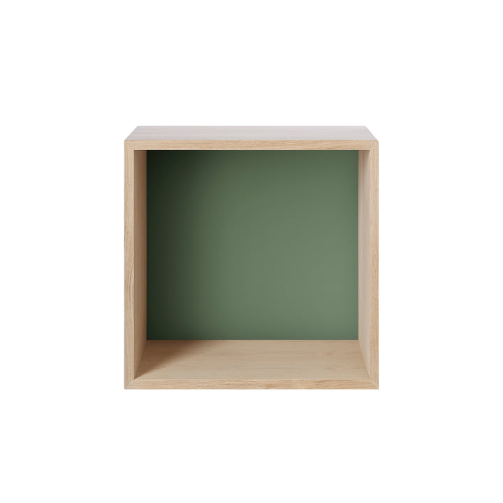 Muuto - Mini Stacked Regalmodul 2.0, medium, Eiche / Rückwand dusty green
