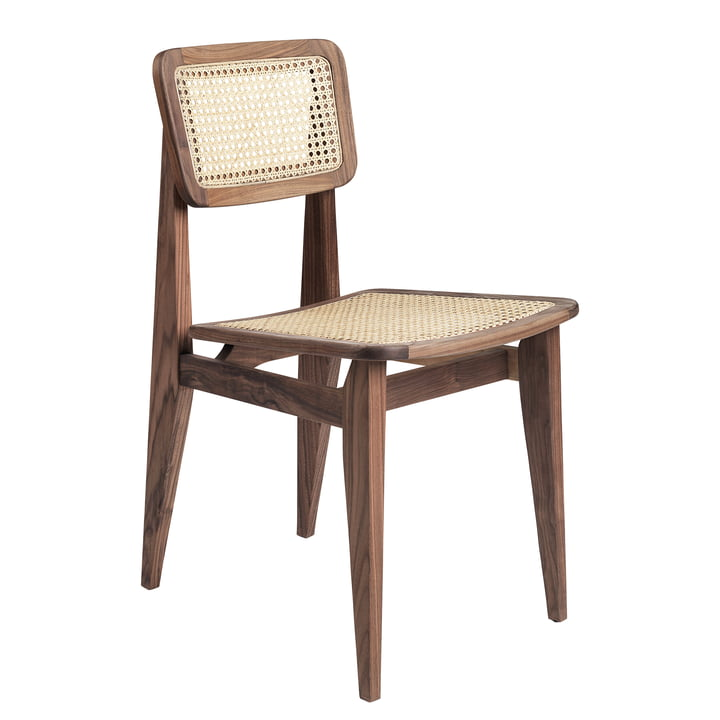 Gubi - C-Chair Dining Chair, All French Cane, Amerikanische Walnuss geölt