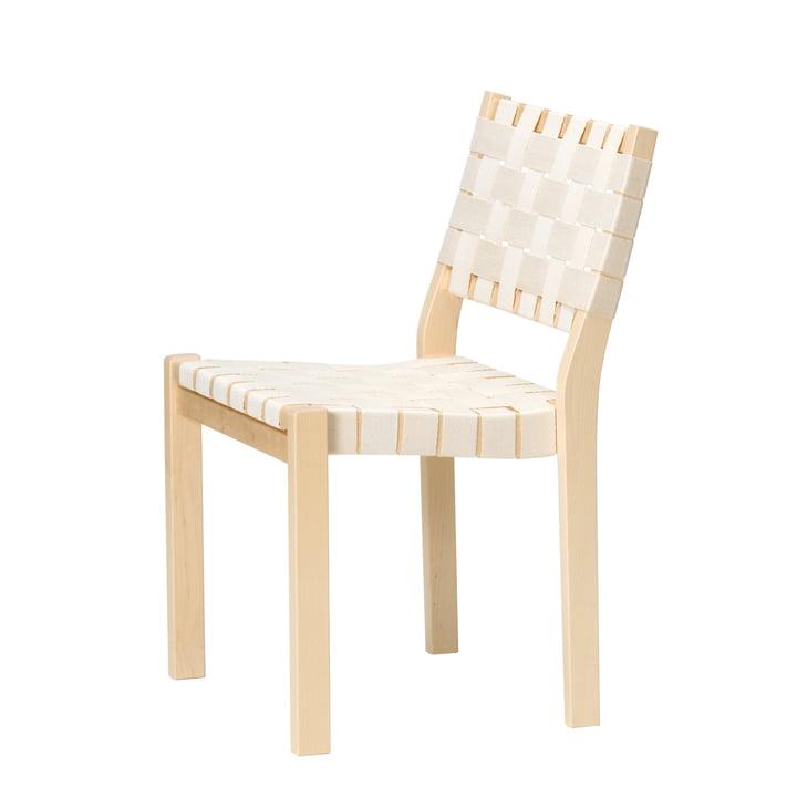 Der Artek - Stuhl 611, Birke / Leinengurt in natur