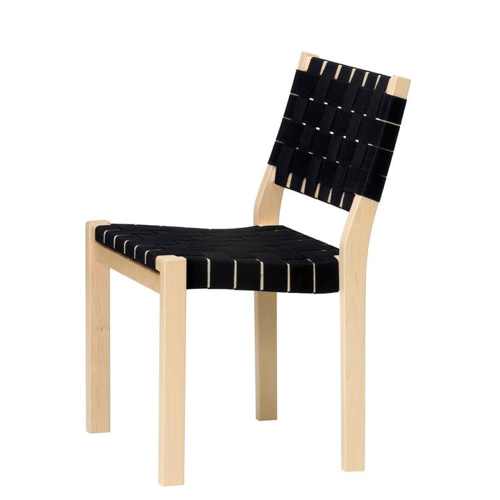 Stuhl 611 von Artek in Birke klar lackiert / Leinengurte schwarz