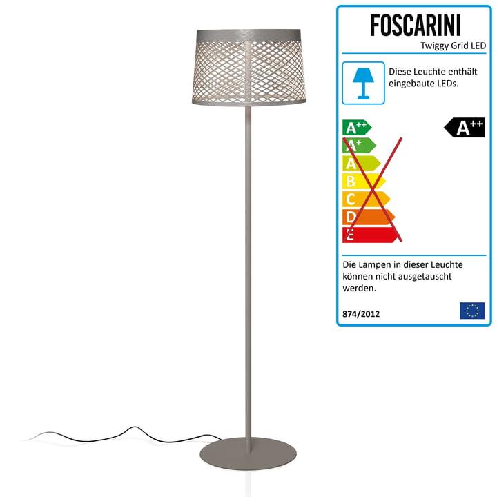 Foscarini - Twiggy Grid Lettura LED-Stehleuchte, greige