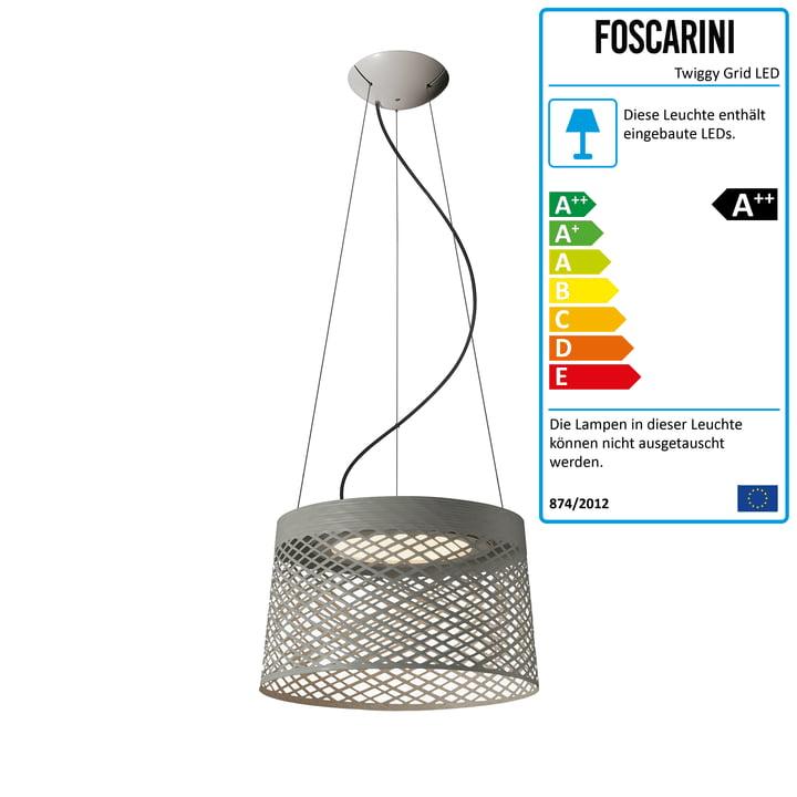 Foscarini - Twiggy Grid LED Pendelleuchte, greige