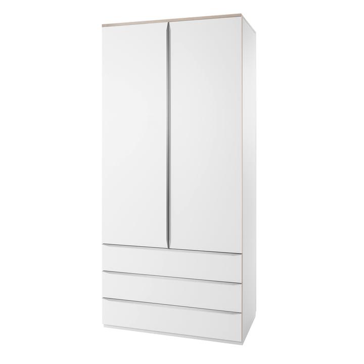 Müller Möbelwerkstätten - Modular16 Kleiderschrank mit Außenschubladen, weiß (Birkenschichtholzkante)