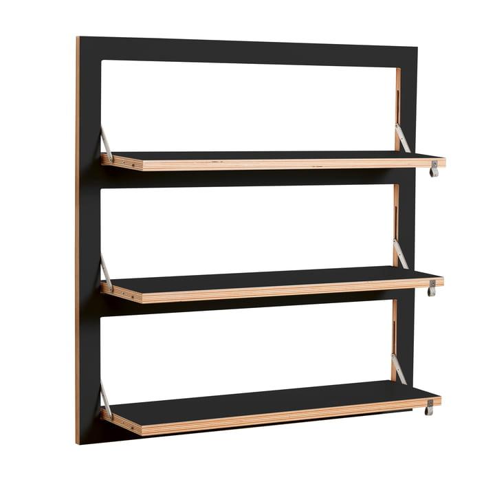 Ambivalenz - Fläpps Regal, 80 x 80 cm, 3 Regalböden, schwarz