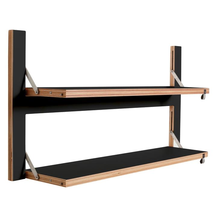 Ambivalenz - Fläpps Regal, 80 x 40 cm, 2 Regalböden, schwarz