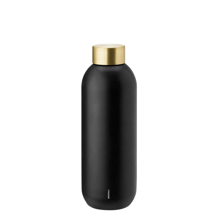 Die Stelton - Collar Wasserflasche 0.75 l, schwarz / Messing