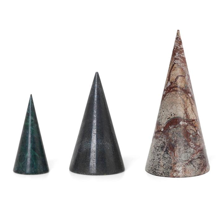 ferm Living- Marmor Deko-Bäume (3er-Set), grün / schwarz / braun