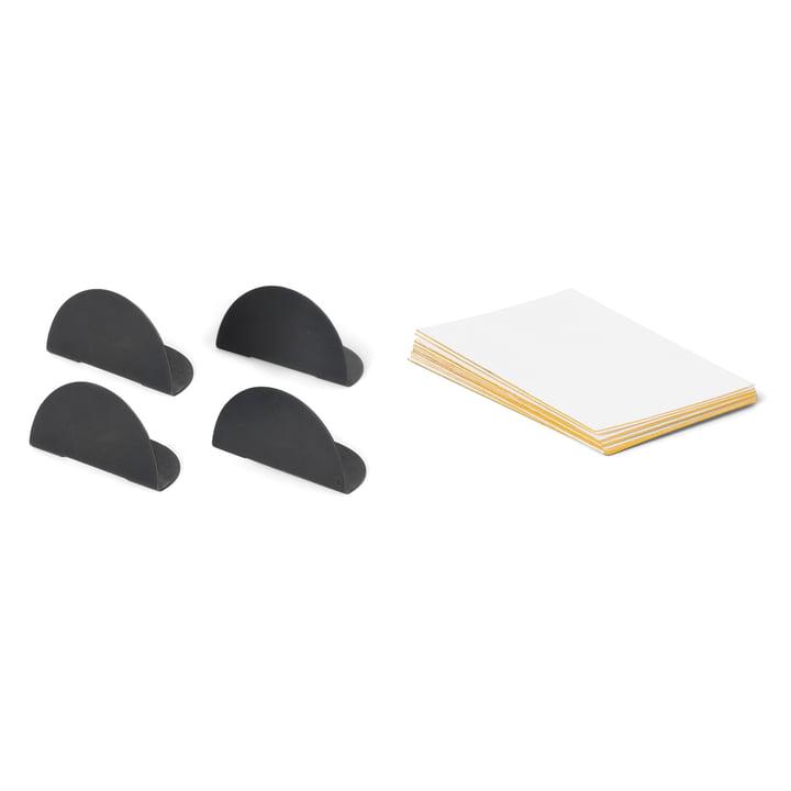 ferm Living - Kartenhalter, schwarz (4er-Set inkl. 8 Karten)