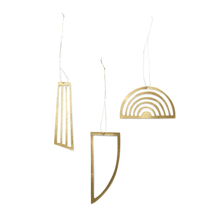 ferm Living - Christbaumschmuck-Ornamente, gold (3er-Set)