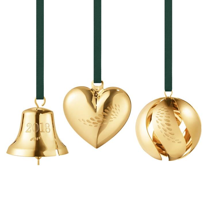 Geschenk-Set 2018 (Herz / Glocke / Kugel) von Georg Jensen in gold