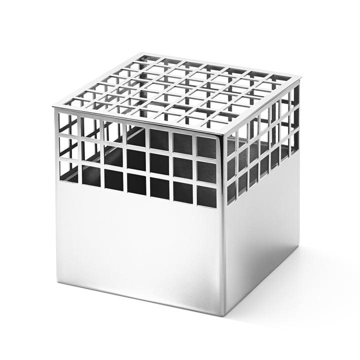Matrix Cube Vase medium aus Edelstahl von Georg Jensen