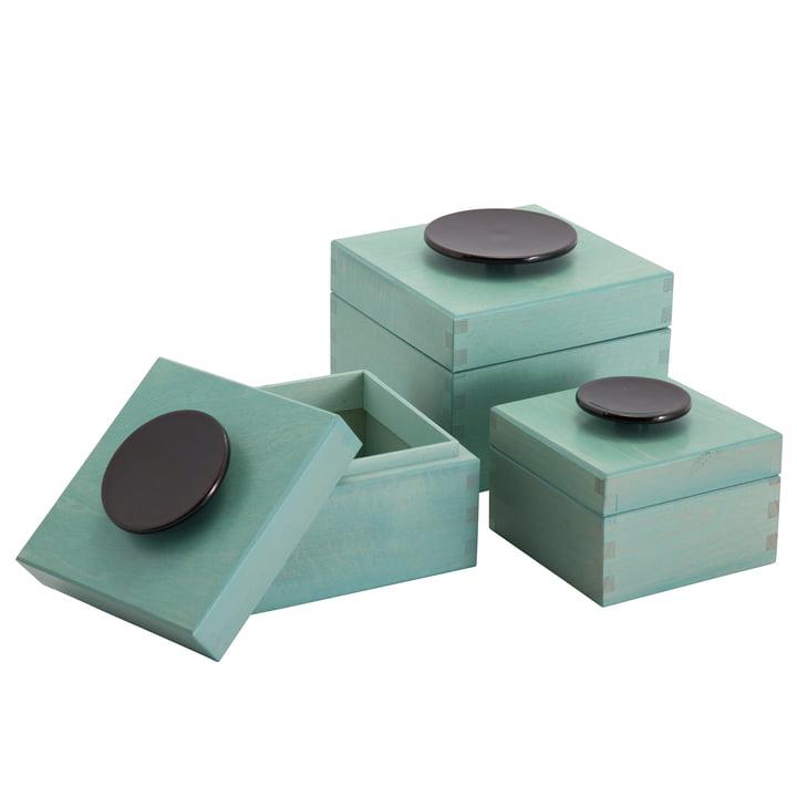 Pulpo - Llano Aufbewahrungsbox (3er-Set), grün / schwarz