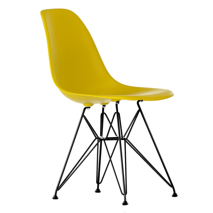 Eames Plastic Side Chair DSR von Vitra in basic dark / senf