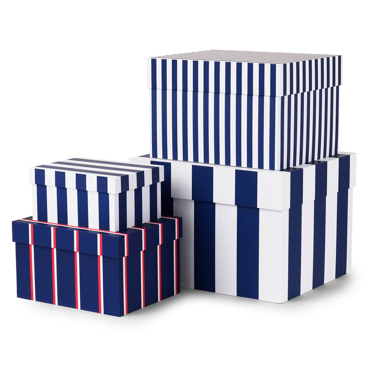 Tivoli - Candy Stripe Boxen (4er Set), royal blue