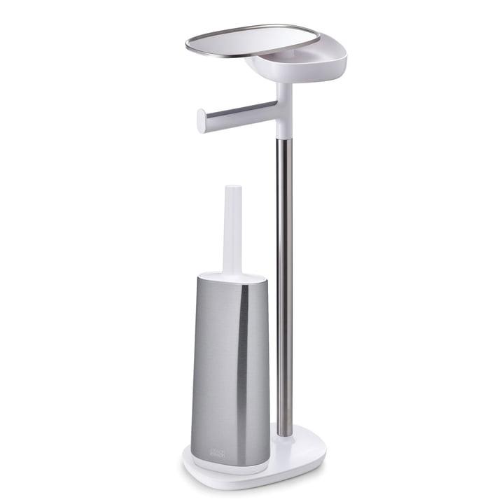 Joseph Joseph - EasyStore Plus Toilettenpapierhalter mit Flex Steel Toilettenbürste, Edelstahl / weiß