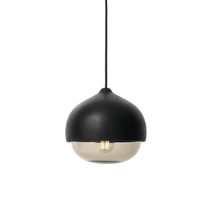 Mater - Terho Pendelleuchte, Ø 24 x H 21,5 cm, Erlenholz schwarz / smoke