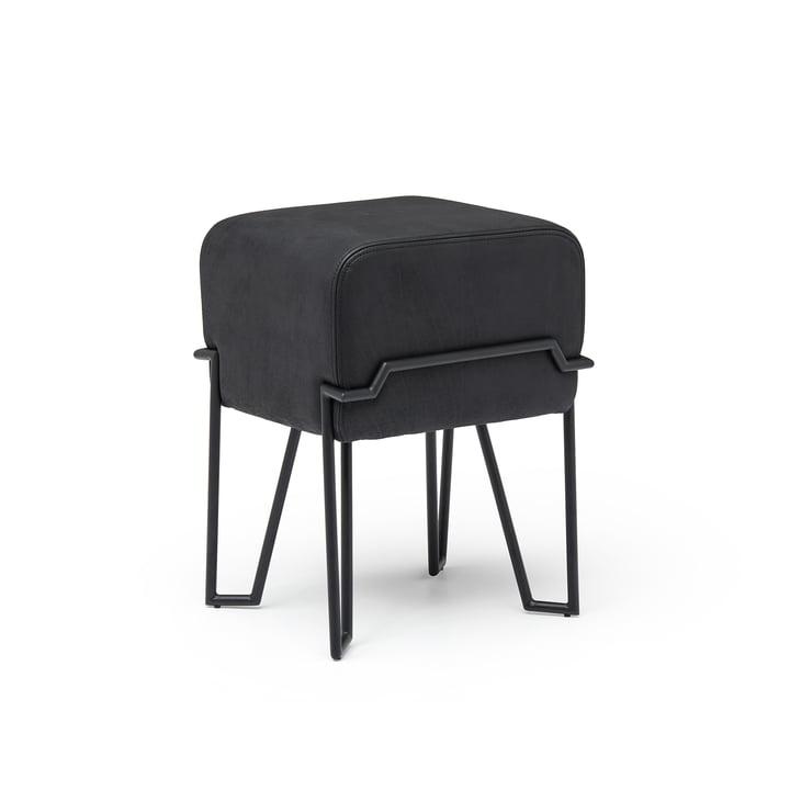Bokk Hocker H 52 cm, schwarz / Leder schwarz von Puik