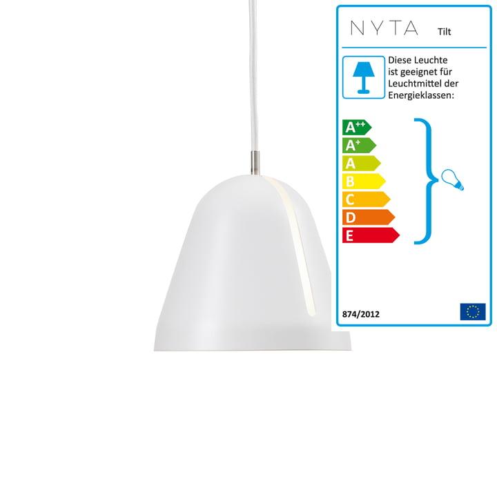 Tilt Pendelleuchte S, Ø 18 x H 16 cm mit Schirm in weiß und Kabel in weiß von Nyta
