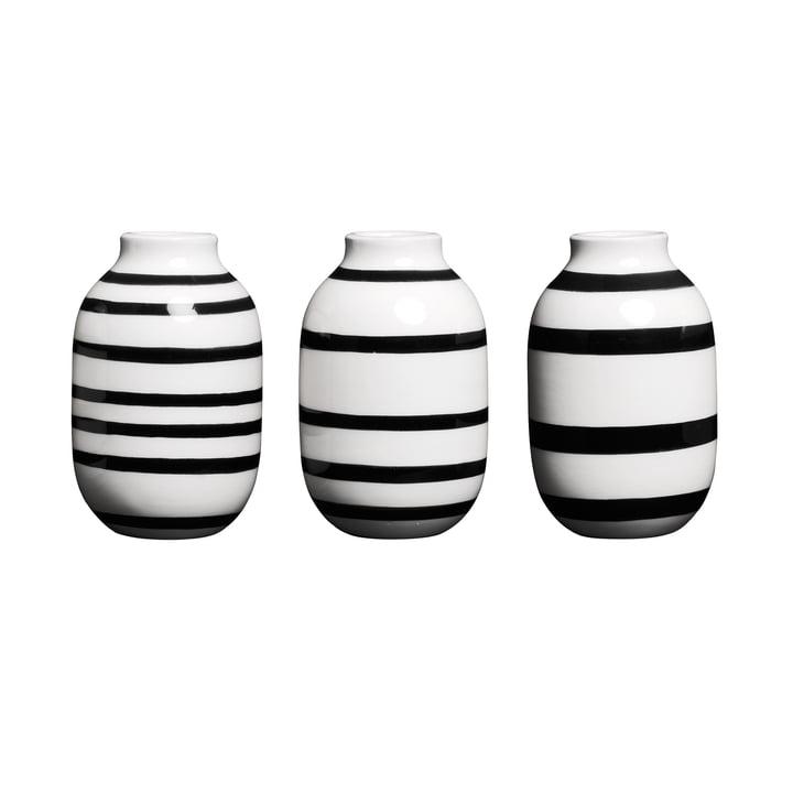 Omaggio Vase Miniatur H 8 cm, schwarz (3er-Set) von Kähler Design