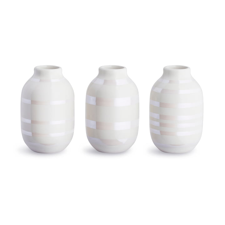 Omaggio Vase Miniatur H 8 cm, perlmutt (3er-Set) von Kähler Design