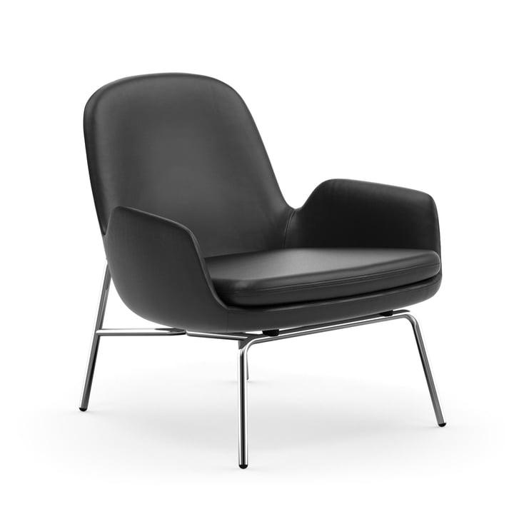 Era Lounge Chair Low von Normann Copenhagen in Chrom / Leder schwarz (Ultra Leather 41599)