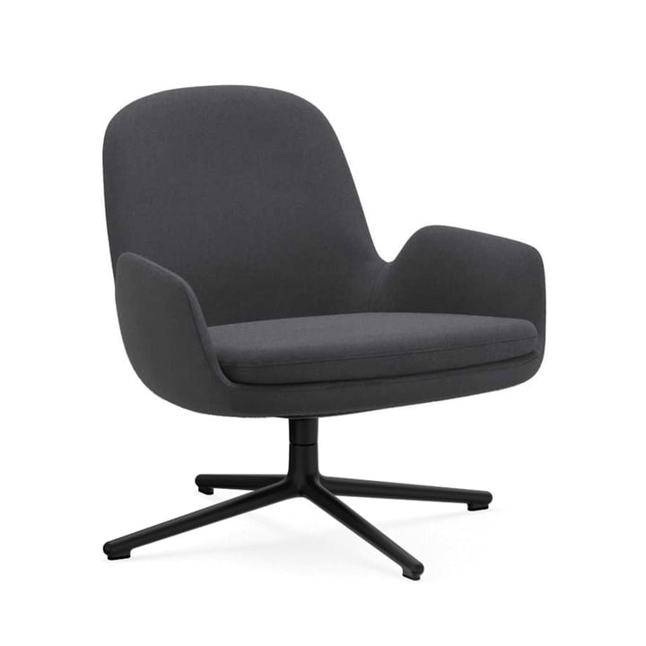 Era Lounge Chair Low Swivel von Normann Copenhagen in Aluminium schwarz / grau (Fame 60003)