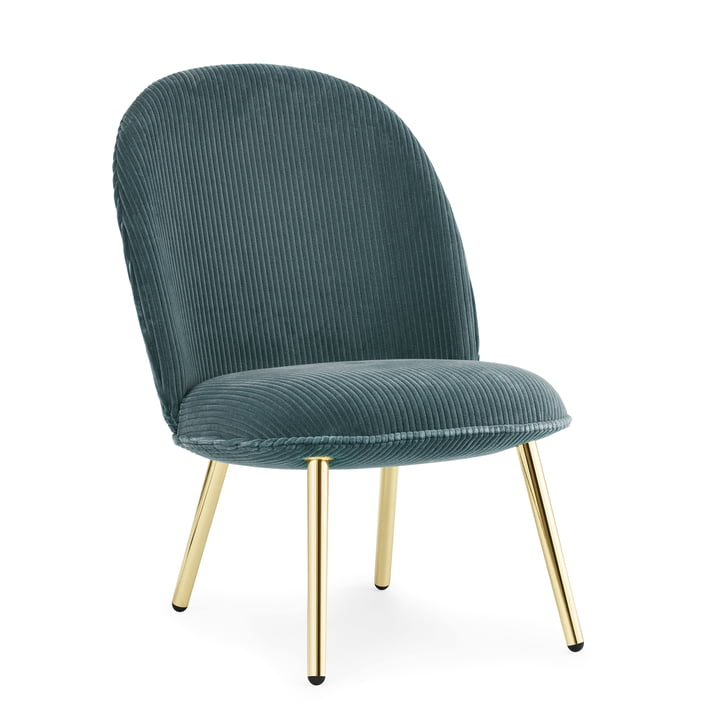 Ace Lounge-Chair Kord von Normann Copenhagen in Messing / petrol (Cord Uno 084)