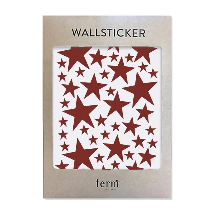 Mini Stars Wallstickers von ferm Living in rot
