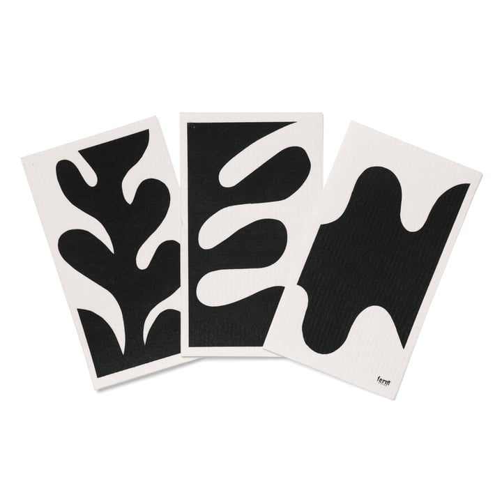 Leaf Spültücher (3er-Set) von ferm Living in schwarz