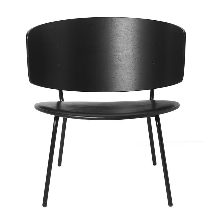 Herman Lounge Chair von ferm Living in Leder schwarz / schwarz