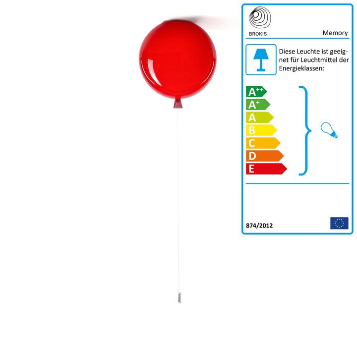 Memory Deckenleuchte von Brokis - Ø 25 x H 27,5 cm, rot / Kabel weiß