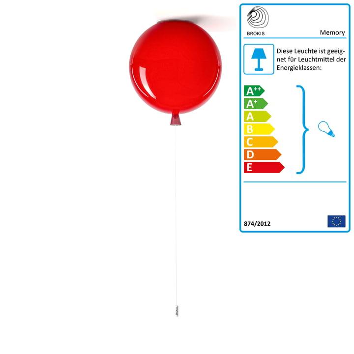 Memory Deckenleuchte von Brokis - Ø 30 x H 32,5 cm, rot / Kabel weiß