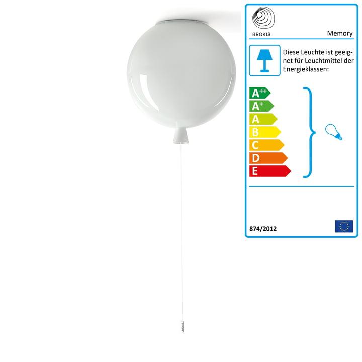 Memory Deckenleuchte von Brokis - Ø 40 x H 41,5 cm, weiß / Kabel weiß