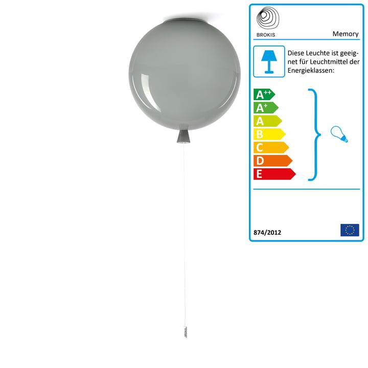 Memory Deckenleuchte von Brokis - Ø 40 x H 41,5 cm, grau / Kabel weiß
